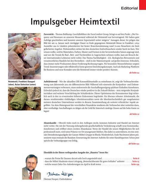 Impulsgeber Heimtextil - beim SN-Fachpresse Verlag