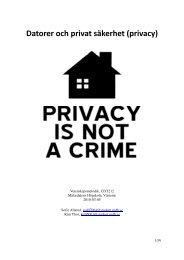 Datorer och privat säkerhet (privacy) - Mälardalens högskola