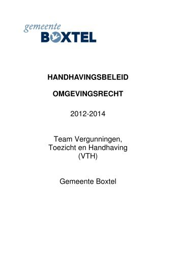 Beleid 2012-2014 - Gemeente Boxtel