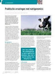 Praktische ervaringen met nutrigenomics - Melkveebedrijf