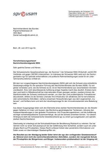 Vernehmlassungsantwort Nachrichtendienstgesetz NDG