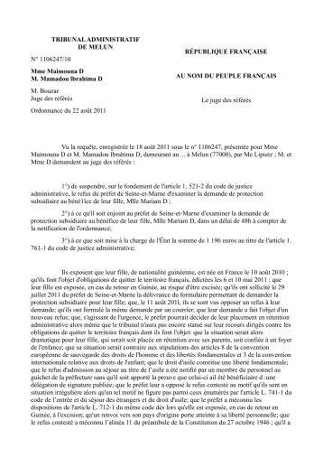 TA Melun, 22 août 2011, n° 1106247/10 (PDF, 78.2 ko) - Gisti