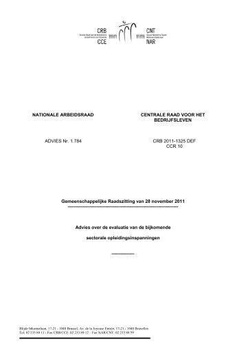 ADVIES 1784 van 28.11.2011 - Nationale Arbeidsraad