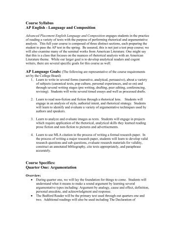 Course Syllabus AP English - Language and Composition Course ...