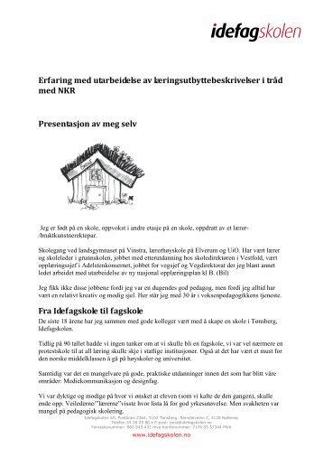 Erfaring med utarbeidelse av læringsutbyttebeskrivelser i ... - Nokut