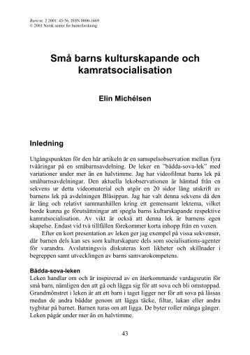 Små barns kulturskapande och kamratsocialisation Elin ... - NTNU