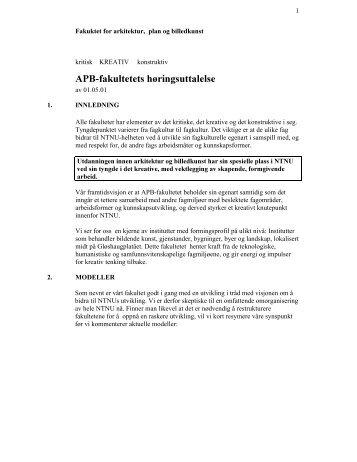 Fakultet for arkitektur, plan og billedkunst - NTNU