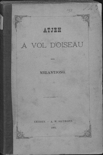 ATJ1B A VOL D'OISEAU - the Aceh Books website