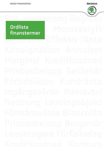 Ordlista Finanstermer Skoda
