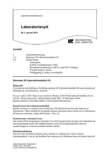 Laboratorienytt nr 1 2011