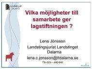Lena Jönsson - Västmanlands Kommuner och Landsting