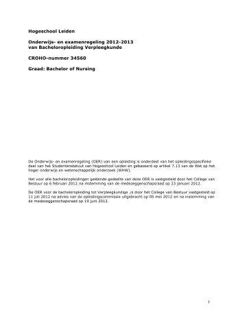 OpleidingsOER 2012-2013 - Hogeschool Leiden