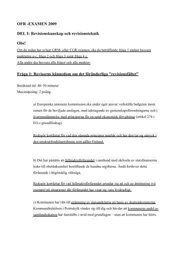 OFR -EXAMEN 2009 DEL I: Revisionskunskap och revisionsteknik ...