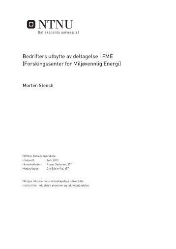 Bedrifters utbytte av deltagelse i FME (Forskingssenter for ...