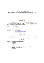 Cursus Cultuur en Literatuur in het taalonderwijs ... - Taalunieversum