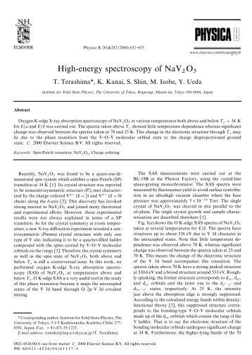 High-energy spectroscopy of NaV O