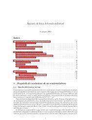 Appunti di fisica dei semiconduttori - Scienza dei Materiali