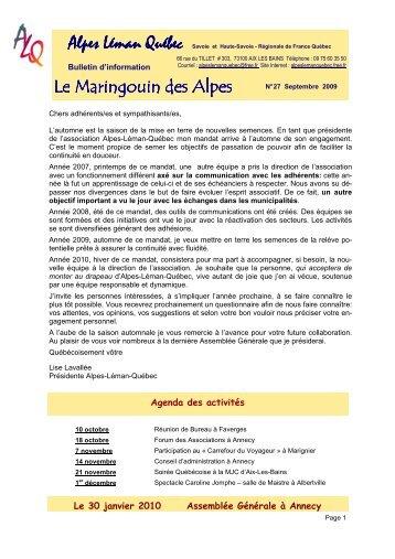 Maringouin N° 27 Septembre 2009 - Alpes Léman Québec - Free