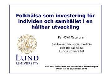 Folkhälsa som investering för individen och samhället i en hållbar ...