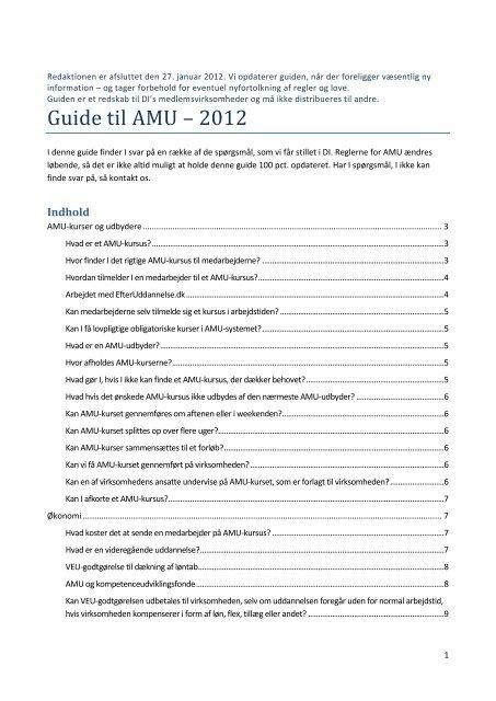 Guide til AMU – 2012 - DI