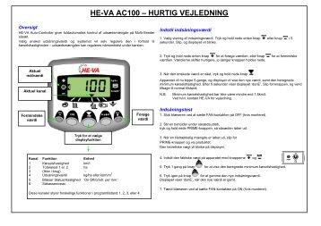 HE-VA AC100 – HURTIG VEJLEDNING