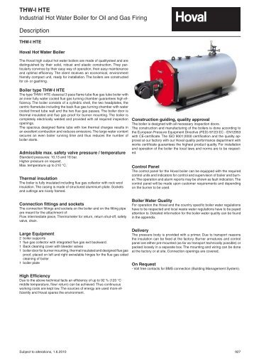 THW-I HTE Industrial Hot Water Boiler for Oil and Gas Firing ... - Hoval