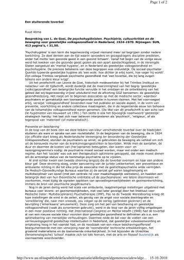 De psychohygiënisten - Sociale Wetenschappen - Universiteit Utrecht