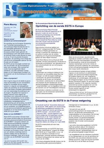 Oprichting van de eerste EGTS in Europa Omzetting van de EGTS in ...