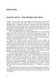 Saras liv och text - från Skrubben till Arkivet - Forskningsarkivet ...