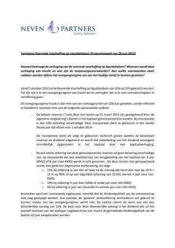 Verhoging Roerende Voorheffing op ... - Neven & Partners