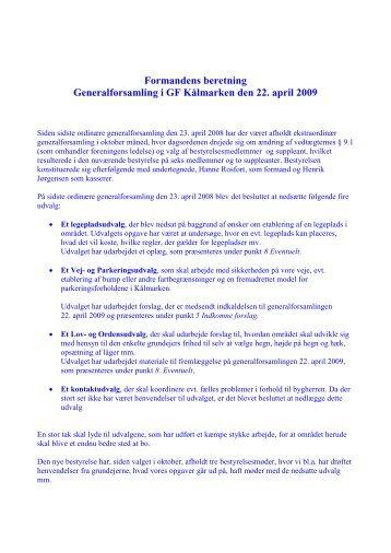 Formandens beretning til generalforsamling, arpil 2009 (pdf) - Forside