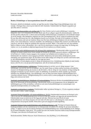 Samtliga remissvar - Humaniora och teologi - Lunds universitet