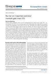 Nu har en majoritet svenskar mentalt gått med i EU (2010 ... - Sieps