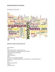 SEMINAR ORGANISATIE & PROFESSIE Hieronder al ... - Kennisplein