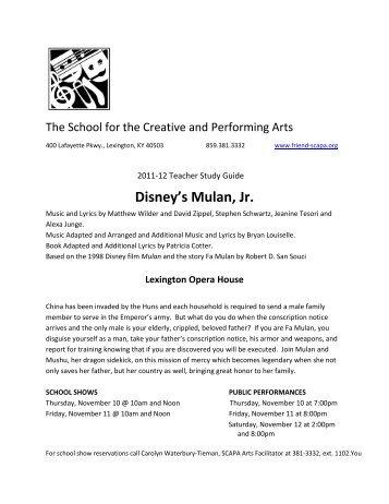 Disneys mulanjr castofcharacters theensembleprovides 2011 12 teacher study guide disneys mulan jr scapa fandeluxe Gallery
