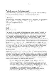 Teknik, kommunikation och makt - Lars Ingelstams
