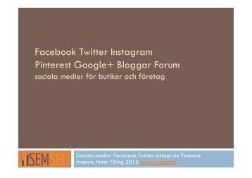 Facebook Twitter Instagram Pinterest Google+ Bloggar ... - Semseo