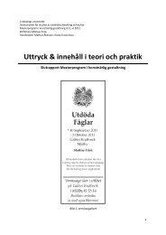 Uttryck & innehåll i teori och praktik - Mattias Frisk