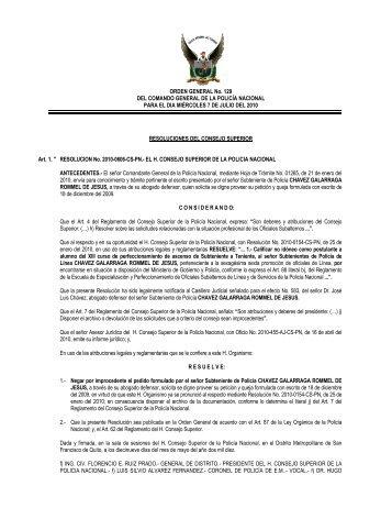 ORDEN GENERAL No. 129 DEL COMANDO GENERAL DE LA ...