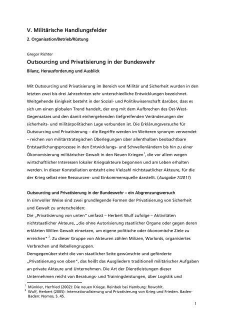 Outsourcing und Privatisierung in der Bundeswehr