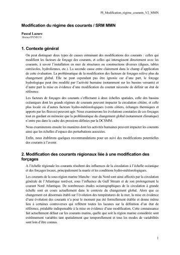 Modification du régime des courants / SRM MMN 1 ... - Ifremer