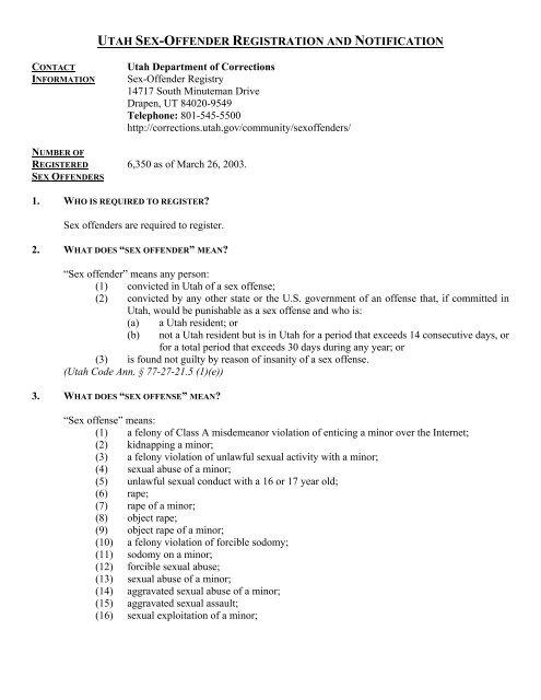 Registered sex offenders in utah