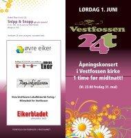 LØRDAG 1. JUNI Åpningskonsert i Vestfossen ... - Visitvestfossen.no