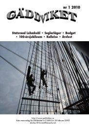 Gäddviket nr.1 2010 - Segel Sällskapet Gäddviken