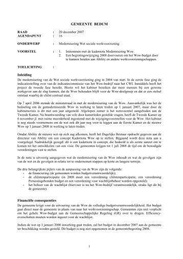 Kadernota Wet sociale werkvoorziening - Besluitvorming ...
