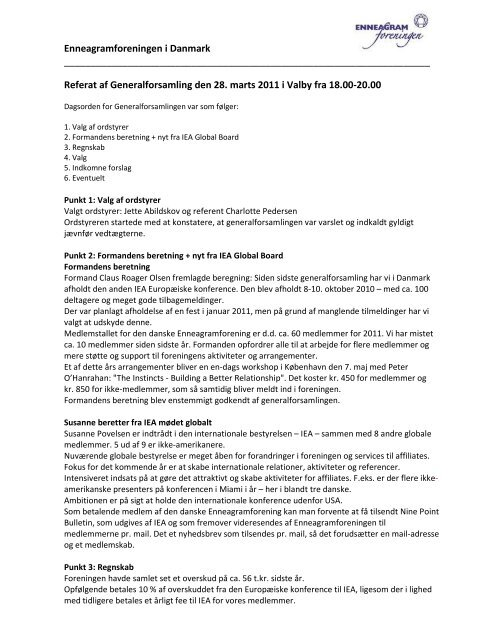 Referat af Generalforsamling - IEA Danmark