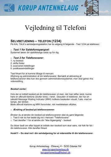 Vejledning til Telefoni - Korup Antennelaug