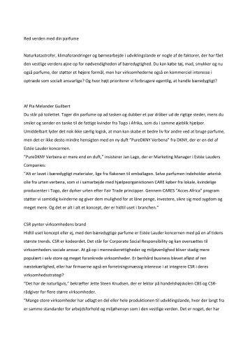 Tema om Corporate Social Responsibility - Pia Guilbert