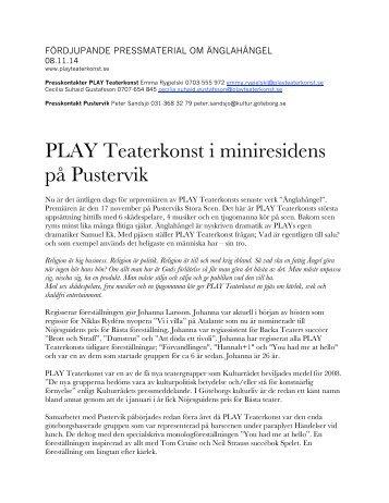 fördjupande pressmaterial om änglahångel - PLAY Teaterkonst