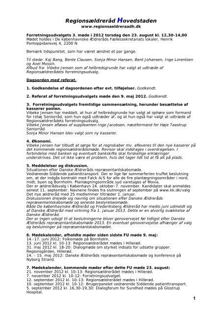 Forretningsudvalgets 3. møde i 2012, torsdag den 23. august kl. 12 ...